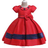 Wholesale doll clubs resale online - Children s dress doll collar jacquard beaded princess dress bow pink flower girl short sleeved wedding dress skirt