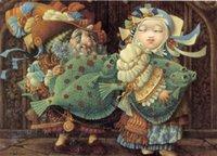 pintura a óleo das canvas dos peixes venda por atacado-Cartoon Art Tiveram Big Fish, pintura a óleo reprodução de alta qualidade giclée na Início Art Decor Canvas Modern