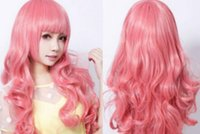 Wholesale long length hair styles online - WIG LL lt lt lt Pretty Lolita Harajuku Style Long Curly Pink Wig Anime Animation Cosplay Hair