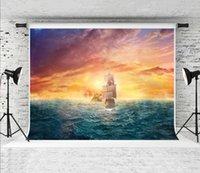 rüya gören deniz toptan satış-Rüya 7x5ft Cadılar Bayramı Korsan Gemisi Deniz Manzarası Zemin Renkli Fotoğrafçı Fotoğraf Çekimi için Gökyüzü Mavi Deniz Fotoğraf Arka Plan Stüdyo Prop