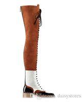 deri platform diz boyu toptan satış-Karışık Renkler Süet Ve Deri Düz Diz Çizmeler Üzerinde Kadın Dantel-up Motosiklet Çizmeler Uyluk Yüksek Patik Fermuar Kadın