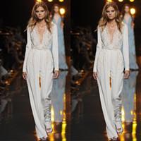 Wholesale sexy t pants lace resale online - Jumpsuits Lace Evening Dress Long Sleeves Deep V Neck Plus Size Mother Of The Bride Pant Suits