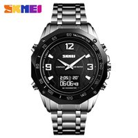 часы из нержавеющей стали оптовых-Men  Compass Temperature Quartz Electronic Watch Stainless Steel Waterproof Pedometer Sport Skmei  1464 Digital Watch