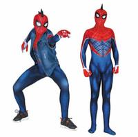 brauner spandex-bodysuit großhandel-heißer Verkauf Erwachsene Kinder SPIDER-PUNK Hobie Brown Cosplay Kostüm neue Zentai Spiderman Superheld Bodysuit Suit Overalls