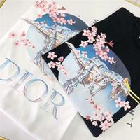 basılı yelek toptan satış-19SS Yeni Paris dinozor Severler Pamuk Tişörtleri Paris Baskı Kısa Kollu Yaz Tee Nefes Yelek Gömlek Streetwear Açık T-shirt