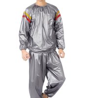 Wholesale red pvc clothing resale online - Two Piece Men Pvc Fitness Clothes Sports Running Set Red And Yellow Striped Print Sweating Slimming Suit For Male Fashion