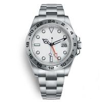 24 dial reloj al por mayor-2019 Nuevo reloj de lujo Explorer II Reloj automático automático de acero inoxidable con esfera blanca de 40 mm. Fecha 24 horas de ajuste individual.