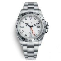 yeni saatler lüks izlemek toptan satış-2019 Yeni Lüks İzle Explorer II 40 MM Beyaz Kadran Paslanmaz Çelik Otomatik İzle bağımsız Tarih 24 Saat ayrı ayrı Set