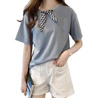блузка с голубой лук оптовых-Womens Tops And Blouses 2019 Summer Bow O-Neck Solid Tops Fashion Short Sleeve Ladies Shirt Plus Size Blue White Blouse Blusas