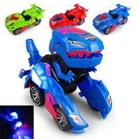elektrikli mini ışıklar toptan satış-Çocuk Oyuncak Yaratıcı Mini Dinozor Morphing Araba Elektrikli Oyuncak Hafif Müzik ile Dinozor Deformasyon Araba Modeli Çocuk Oyuncakları