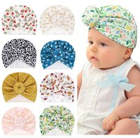 Wholesale ear muff flower resale online - INS Newborn Baby hat Polka Dots Stripped Flower Print Ear Muff Hat kids Hair accessories fashion kids Hat Cap