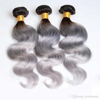 paquetes de pelo brasileño de 28 pulgadas al por mayor-Paquetes de cabello brasileño de Ombre 1B / Grey Body Wave Weaving Two Tone Paquetes de armadura de cabello humano natural 8-30 pulgadas 3 paquetes / lote