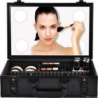 caja de almacenamiento de cosméticos con espejo al por mayor-Las mujeres calientes del maquillaje del bolso del caso cosmético con luz LED Maquillaje Organizador Caja Con Espejo Tocador de almacenamiento recorrido de la caja
