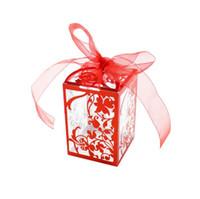 boîtes en pvc claires pour les cadeaux achat en gros de-Boîte de cadeau pvc de mariage fête de mariage clair avec ruban imprimé traite friandises bonbons bonbons pomme macaron gâteau carrés boîtes cadeau de noël faveur emballer