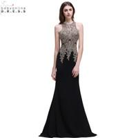 e1f018e6f vestido negro transparente barato al por mayor-Robe de soirée Longue sirena  de encaje negro