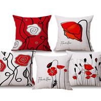 sandalyeler için çiçekler toptan satış-Kırmızı Gül Çiçek Yastık Kapakları Çiçek Bloom Aşk Kalp Siyah ve Kırmızı Renk Bej Keten Yastık Kapakları 45X45 cm Kanepe Sandalye ...