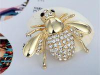 hayvan yüksek takı toptan satış-Altın Siliver Yeni Yüksek Nitelikleri Moda Rhinestone Hayvan Broş Takı Kadınlar Için Güzel Alaşım Arı Broşlar Pimleri Aksesuarları Hediyeler