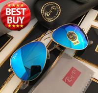 lentes de sol con lentes de flash al por mayor-Gafas de sol estilo piloto Gafas de sol de marca para hombres Mujeres Marco de metal Espejo con flash Lente de vidrio Gafas de sol de moda Gafas de sol 58mm 62mm