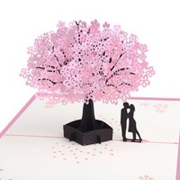 ingrosso biglietti augurali di anniversario fatti a mano-Behogar Squisito Handmade 3D Pop Up biglietti di auguri Grazie Carte per anniversario di matrimonio San Valentino regali forniture