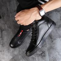 botas altas da pele dos homens venda por atacado-Tamanho grande Sapatos Masculinos de Alta Qualidade Ankle Boots de Couro Rachado dos homens Botas de Neve Preta Pele De Inverno Quente Sapatos HH-015