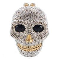 ingrosso borsa della scatola metallica delle donne-Dgrain Crystal Purse Evening Clutch Bag Designer Skull Donna Metal Box Minaudiere Wedding Party Dinner Diamond Handbag Borsa da sera a mano
