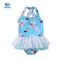 ingrosso ragazzi bikini tutu-Canis Summer Infant Cute Dress Neonate Body Toddler Kid Baby Girl Unicorn Tutu Costumi da bagno Costume da bagno Bikini Costumi da bagno