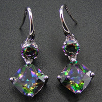 Wholesale mystic jewelry for sale - Group buy 100 Sterling Silver Earring With Rainbow Mystic Topaz Drop Earrings Women Jewelry Earrings with CZ Stone Earrings for Women T191105