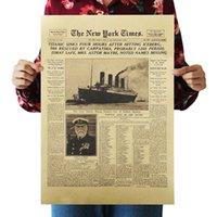 new york aufkleber großhandel-Dlkklb Die New York Times Filmposter Die Titanic versank Schlagzeilen Vintage Poster Wandaufkleber Raumdekoration