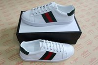 Wholesale stripe shoe fashion for sale - Group buy Personality Luxury designer ace shoes for man best quality real leather women casual fashion sneakers green red stripe embroidery bee tiger