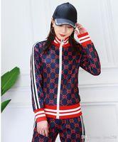 koreanische casual anzug frauen großhandel-Frauenanzug 2019 Frühjahr neue Druck casual zweiteilige koreanische dünne Sportjacke Jacke + Hose
