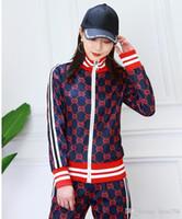 calças coreanas mulheres venda por atacado-Terno feminino 2019 nova primavera impressão casual de duas peças coreano Slim jaqueta esportiva jaqueta + calça