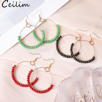 Wholesale earrings for unisex online - Hoop Earrings With Colorful Glass Bead Circle Earring Simple Big Circle Gold Color Ear For Women South Korea Style Jewelry