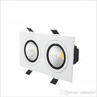 luces de techo de puck led regulable al por mayor-empotrada LED regulable Downlight 2 cabeza Square Downlight COB 10W / 14W / 18W / 24W LED de lámpara del proyector de techo AC85-265V llevó luces puck