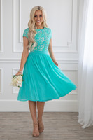 turquoise bridesmaids dresses sleeves 2021 - 2019 New Turquoise Lace Chiffon Short Modest Bridesmaid Dresses With Short Sleeves Knee Length A-line Country Modest Maids of Honor Dress