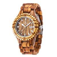 эко-часы мужчины оптовых-Платье кварцевые часы Мужчины Natural Eco Деревянные Наручные часы Дата Вуд Смотреть Регулируемое Вуд Ленточнопильные Часы наручные часы