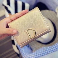 корейский кошелек оптовых-Новая мода дамы портмоне D письмо башня пряжки простой японский и корейский короткие три раза бумажник rfid бумажник