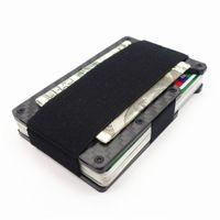 Wholesale carbon card holder for sale - Group buy 2018 New Fashion Slim Carbon Fiber Credit Non scan Metal Wallet Purse