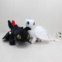 ejderha gece öfke peluş toptan satış-2 adet / takım 35 cm Ejderhanı 3 Peluş Oyuncak Işık Fury Yumuşak Beyaz Ejderha Gece Fury Dişsiz Dolması oyuncaklar
