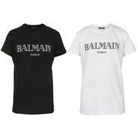 ropa para mujer al por mayor-2019 Balmain T Shirts Ropa Diseñador Tees Azul Negro Blanco Hombres Mujeres Slim Balmain Francia París Marca
