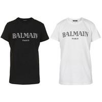 manga camisetas venda por atacado-O desenhista 2019 da roupa das camisas de Balmain T tende o tipo magro de Balmain France Paris das mulheres brancas dos homens do preto azul