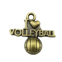 ingrosso fascini del pendente di pallavolo-150pcs I Heart Volley Ball Pendant I Love Volleyball Charm Charm I Love Pallavolo Charm per monili che fanno 20x21mm
