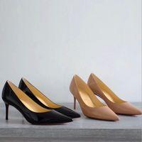 zapatos de vestir altos al por mayor-Zapatos de tacón alto con punta de tacón alto con diseño en rojo Parte superior 100% Cuero genuino Stilettos Sexy Slip Dress Shoes Zapatos de fiesta 2-6-8-10.5 cm