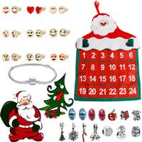 mücevher yılbaşı süsü toptan satış-Süsler Takı Advent Takvimi ile 2019 24 Gün Bilezik Geri Sayım Noel Hediyesi merry christmas dekorasyon yeni yıl
