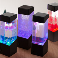 tanque de lâmpada venda por atacado-Mesa de Cabeceira Movimento Lâmpada Jellyfish Lamp LED Aquarium tanque Desk Lamp Night Light cabeceira mesa Tabela Night Light para aquário