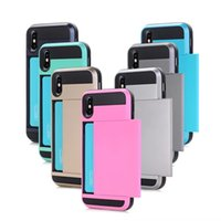 ingrosso caso silicone tasca galassia-Armor Phone Case Slide Card Pocket Dual Layer Amor Hybrid 2 in 1 V-erus Cover posteriore per iPhone Xs Max Xr I8 Custodia Samsung Galaxy S9 Plus S8