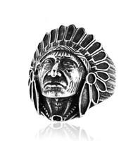 diseños de joyas de estilo indio al por mayor-Indian Chief Design Hombre Anillos Personalidad Estilo Punk Acero inoxidable Hombres Joyería Accesorios frescos Anillos de la vendimia