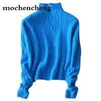 suéter de inverno feminino inferior venda por atacado-camisola de inverno mulheres gola alta suéter de cashmere camisola feminina grossa 2019 novo padrão de torção assentamento quente pulôver