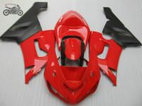 kawasaki için motosiklet parçaları toptan satış-05 06 GH54 Ninja ZX6R set Kawasaki ZX6R için% 100 Enjeksiyon kalıplama kaporta kiti 2005 2006 ZX636 parlak kırmızı siyah motosiklet grenaj
