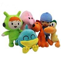 pokoyo peluş toptan satış-Pocoyo Peluş Oyuncak 6 adet / grup Çocuklar Yumuşak Dolması Hayvanlar Bebekler Karikatür Elly Pato Loula Oyuncaklar Çocuklar için 16-30 cm