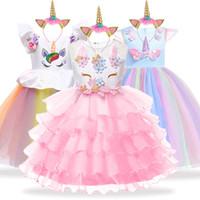 ingrosso vestito blu dalla principessa 3t-Unicorn Party Kids Dresses For Girls Elegante Princess Dress Bambini Ragazze Costume Cenerentola Biancaneve Dress fantasia infantil